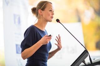 woman giving motivational speech