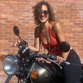 Jaime Johnston on a motorcycle